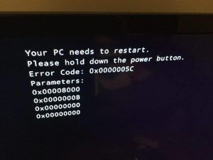 Windows failed to load with Bugcheck code 0x5c