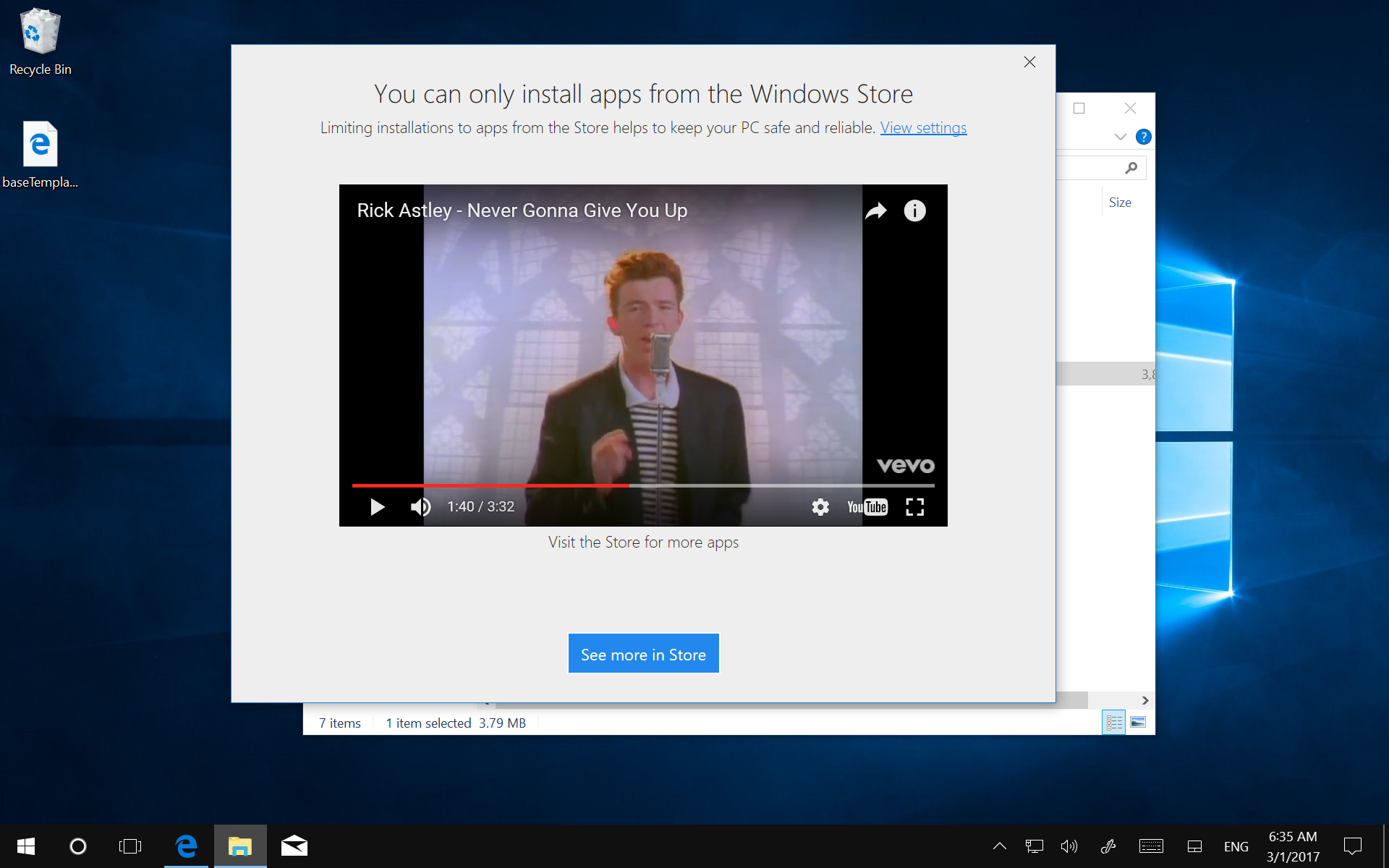 """""""Rickrolling"""" in Windows SmartScreen"""