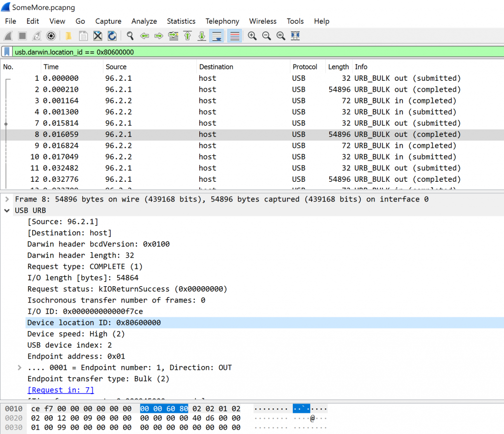 Packet capture over the USB bus
