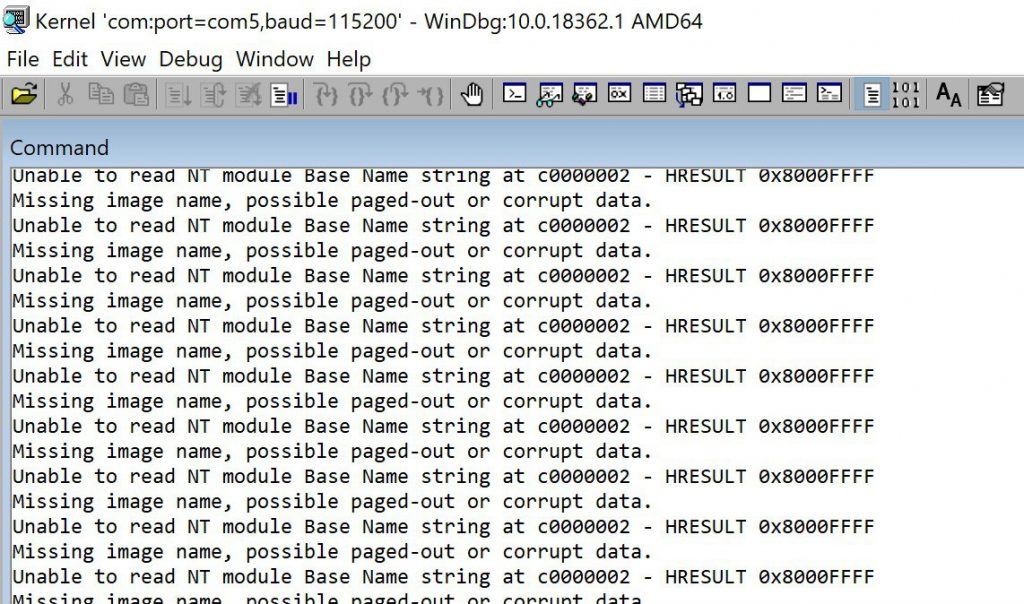 Windows debugger fails to read memory due improper SMBIOS configuration.