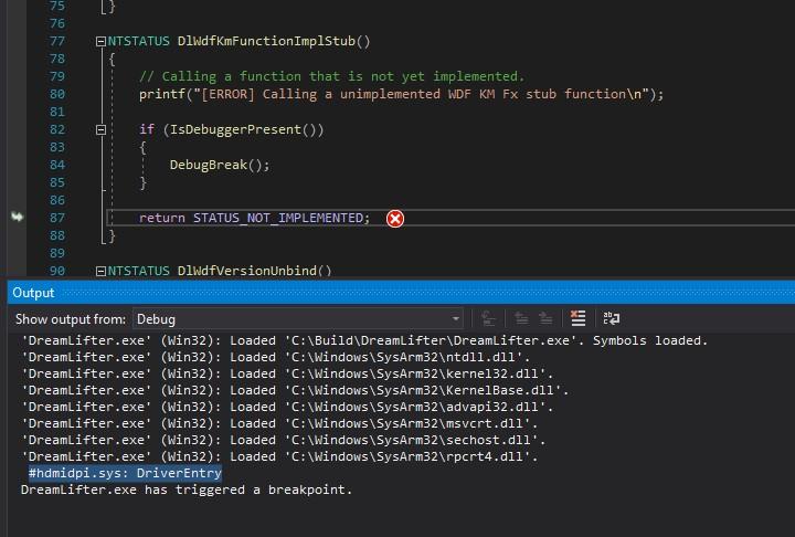 Computer screenshot showing an code exception